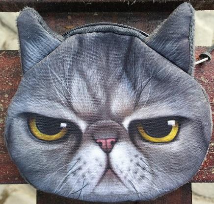 CatBagz.com Cat Faced Coin Bags Smokey Style