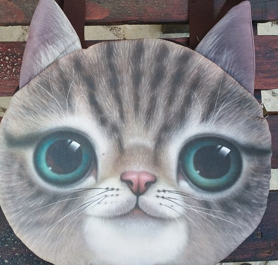 CatBagz.com Cat Faced Tote Percy Style. Zoomed